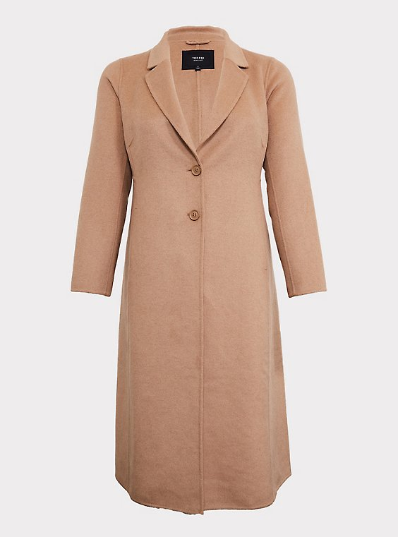 Taupe Woolen Button Front Duster Coat, , flat
