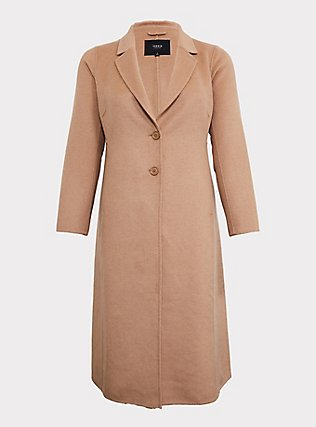 Taupe Woolen Button Front Duster Coat, WARMED STONE, flat