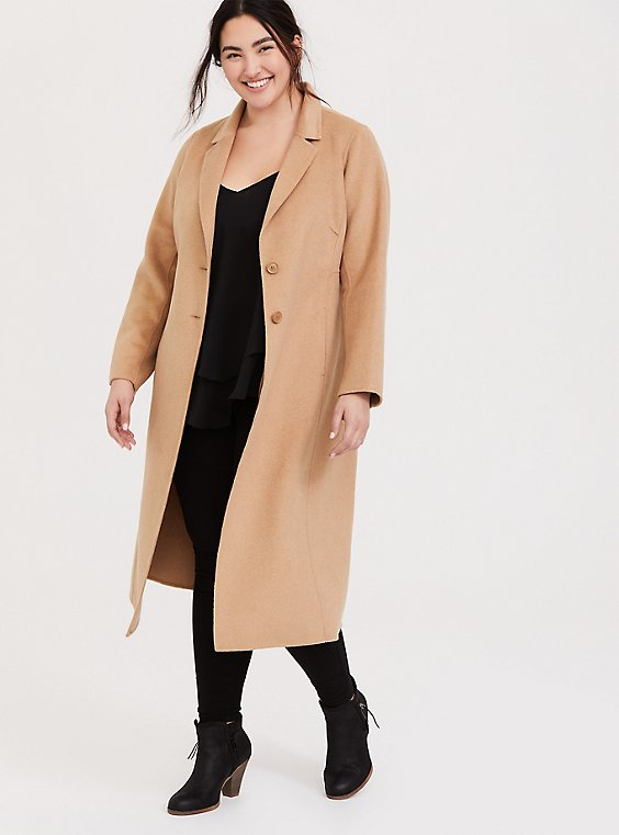 Taupe Woolen Button Front Duster Coat, , hi-res
