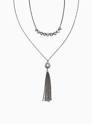 Hematite-Tone Multicolored Faux Stone Necklace Set - Set of 2, , ls