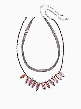 Plus Size Hematite-Tone Stone Layered Bead Statement Necklace, , hi-res