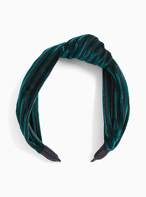 Emerald Green Striped Velvet Headband, , hi-res