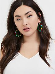Multicolored Holiday Wreath Jingle Statement Earrings, , alternate