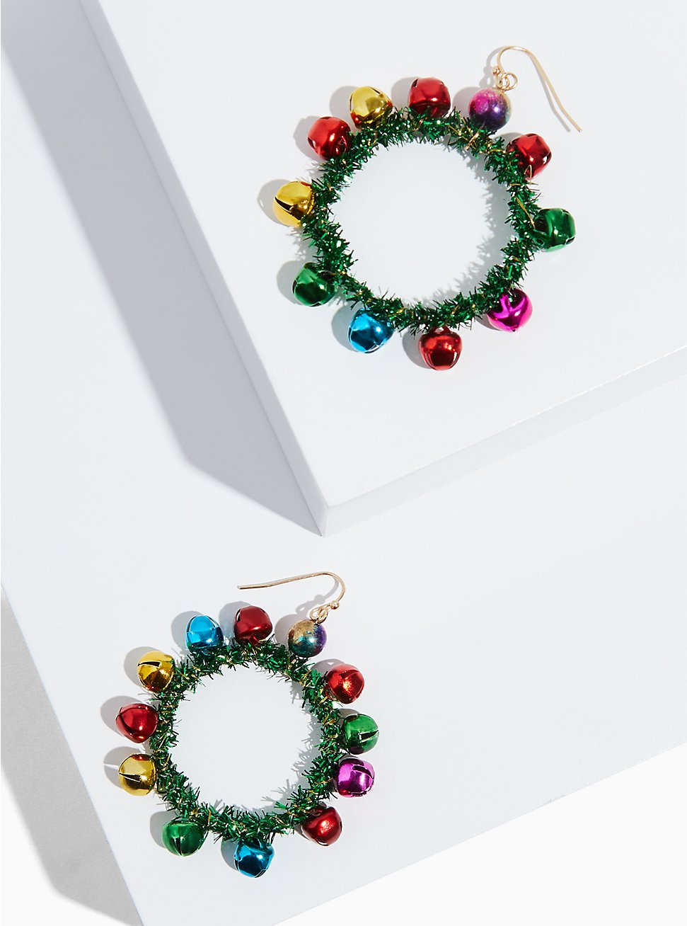 Multicolored Holiday Wreath Jingle Statement Earrings, , hi-res