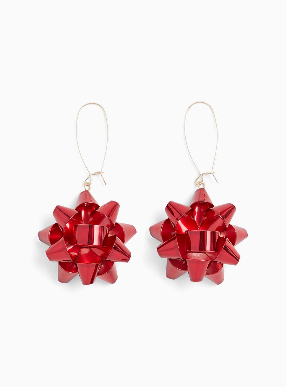 Red Holiday Bow Dangle Earrings, , hi-res