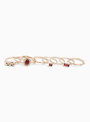 Gold-Tone Red Faux Stone Stackable Ring Set - Set of 8, RED, hi-res