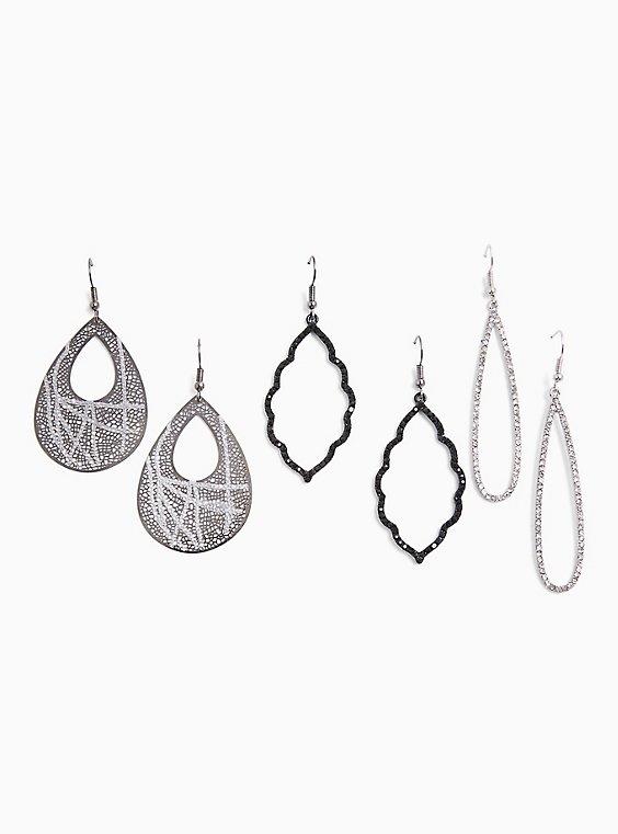 Silver-Tone Mixed Dangle Earrings Set - Set of 3, , hi-res