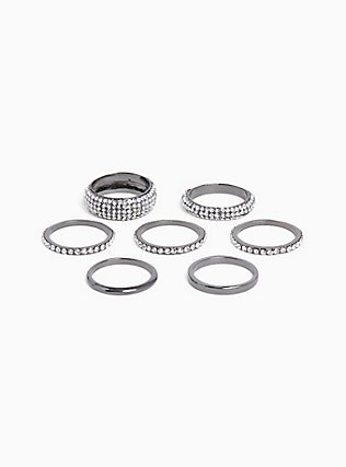 Plus Size Titanium-Tone Micro Pavé Stackable Ring Set - Set of 7, BLACK, hi-res