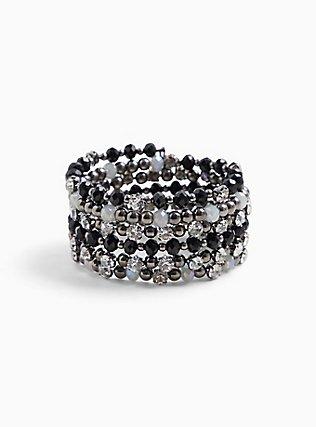 Black & Silver Beaded Coil Bracelet, , hi-res