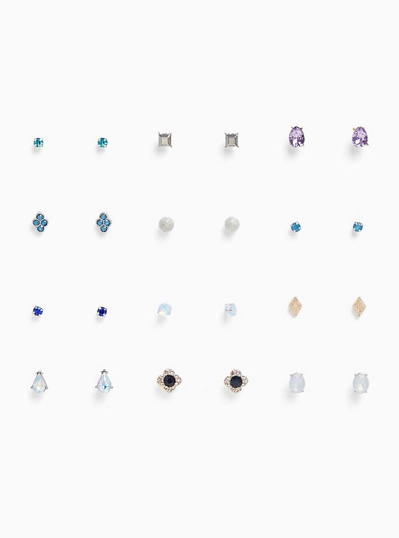 Iridescent Stone Stud Earrings Set - Set of 12, , hi-res