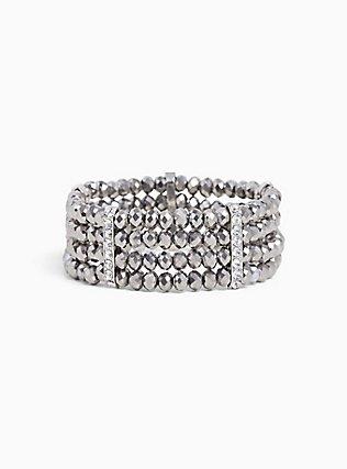 Plus Size Silver-Tone Beaded Bracelet, SILVER, hi-res