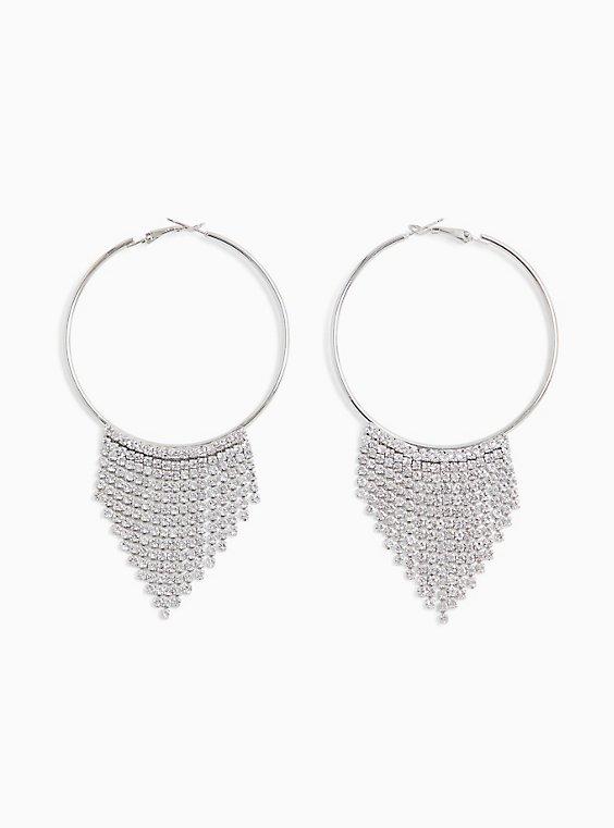 Silver-Tone Rhinestone Cupchain Hoop Earrings, , hi-res