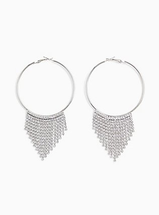 Plus Size Silver-Tone Rhinestone Cupchain Hoop Earrings, , hi-res