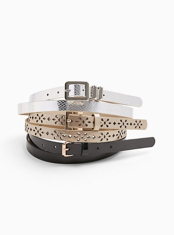 Plus Size Black & Multi Metallic Faux Leather Belt - Pack of 3, , hi-res
