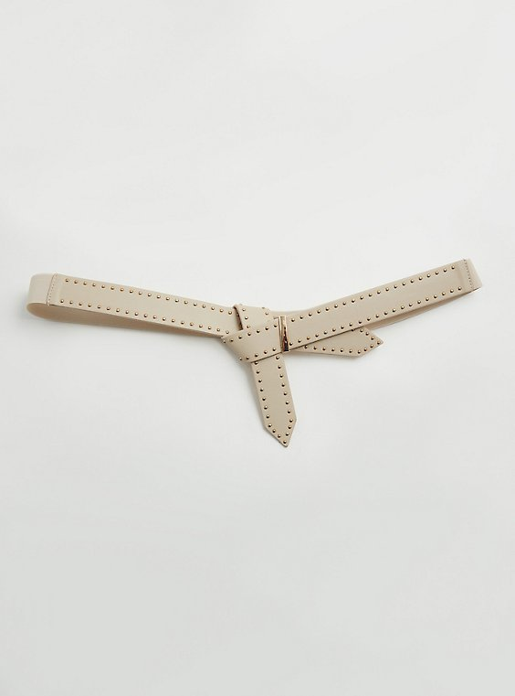 Ivory Faux Leather Loop Tucked Studded Belt, , hi-res