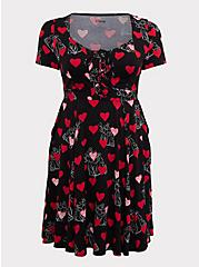 Disney Villains Queen of Hearts Black Lace-Up Skater Dress, BLACK  RED, hi-res
