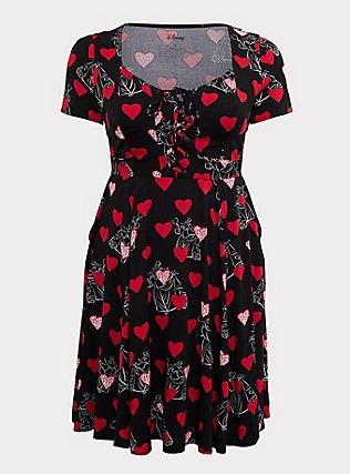 Disney Villains Queen of Hearts Black Lattice Skater Dress, BLACK  RED, flat