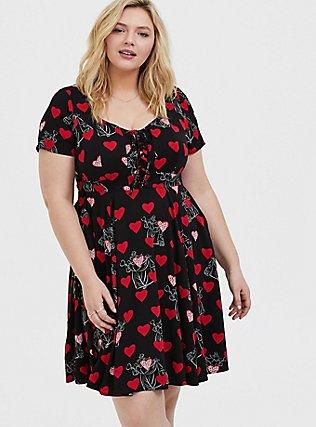 Disney Villains Queen of Hearts Black Lattice Skater Dress, BLACK  RED, hi-res