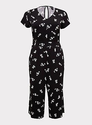 Disney Minnie Mouse Black Challis Culotte Jumpsuit, MINNIE SKETCHES, flat