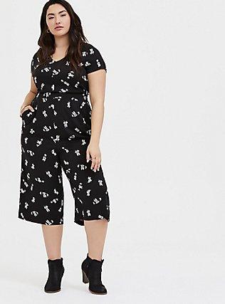 Plus Size Disney Minnie Mouse Black Challis Culotte Jumpsuit, MINNIE SKETCHES, hi-res