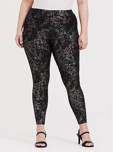 Premium Legging - Metallic Splatter Black, BLACK, alternate