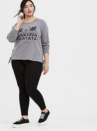 Plus Size Disney The Lion King Hakuna Matata Grey Lace-Up Sweatshirt, HEATHER GREY, alternate