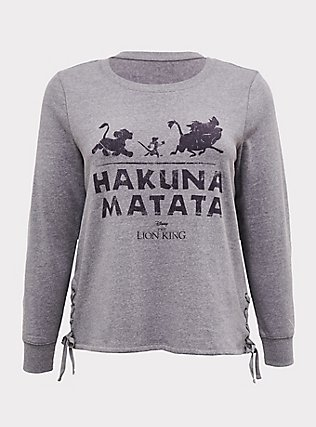 Plus Size Disney The Lion King Hakuna Matata Grey Lace-Up Sweatshirt, HEATHER GREY, flat
