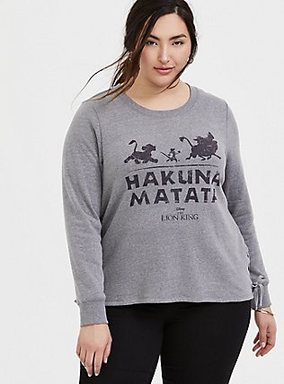 Plus Size Disney The Lion King Hakuna Matata Grey Lace-Up Sweatshirt, HEATHER GREY, hi-res
