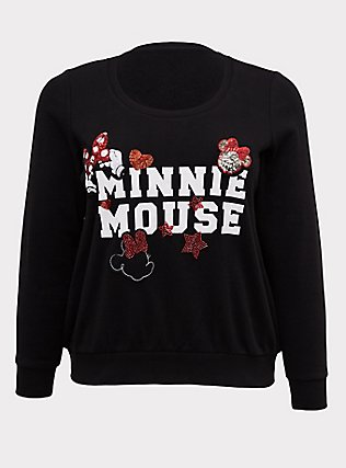 Plus Size Disney Minnie Mouse Embellished Black Sweatshirt, DEEP BLACK, flat