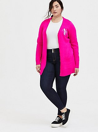 Disney Minnie Mouse Neon Pink Embroidered Cardigan, NEON PINK, alternate