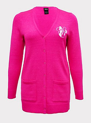 Disney Minnie Mouse Neon Pink Embroidered Cardigan, NEON PINK, flat