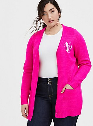 Disney Minnie Mouse Neon Pink Embroidered Cardigan, NEON PINK, hi-res