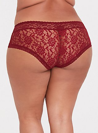 Dark Red Lacey Cheeky Panty , BIKING RED, alternate