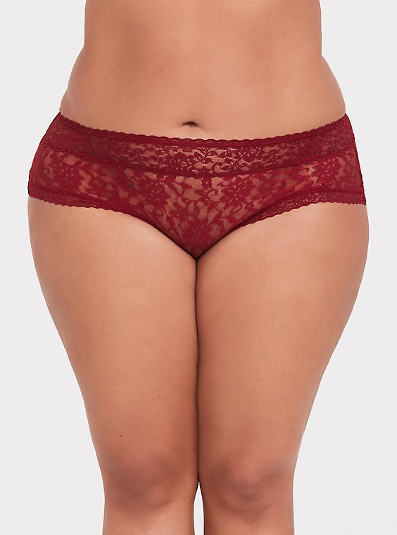 Dark Red Lacey Cheeky Panty , , hi-res