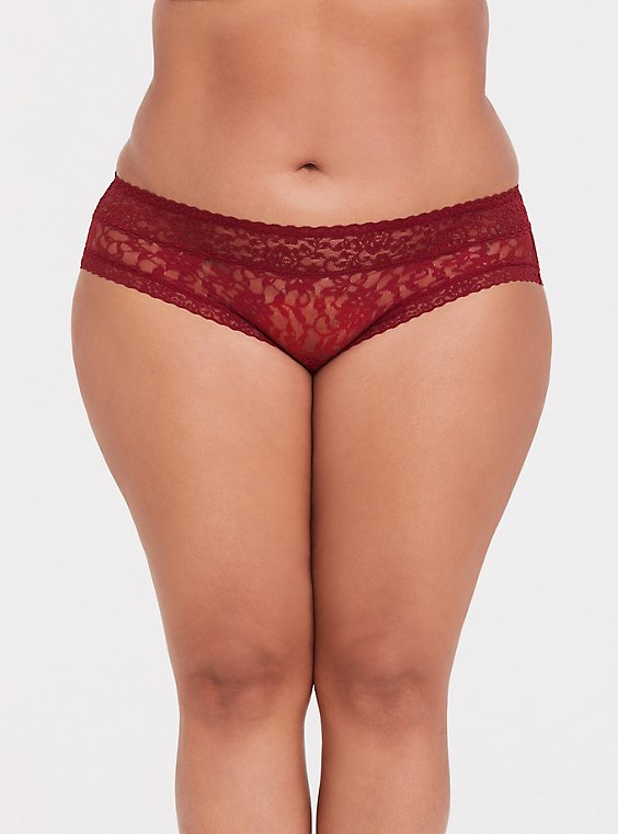 Dark Red Lacey Hipster Panty , , hi-res