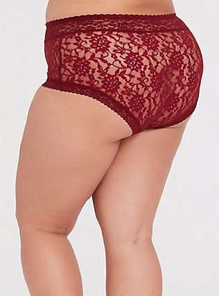 Plus Size Dark Red Lacey Brief Panty, BIKING RED, alternate