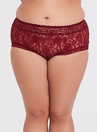 Plus Size Dark Red Lacey Brief Panty, BIKING RED, hi-res