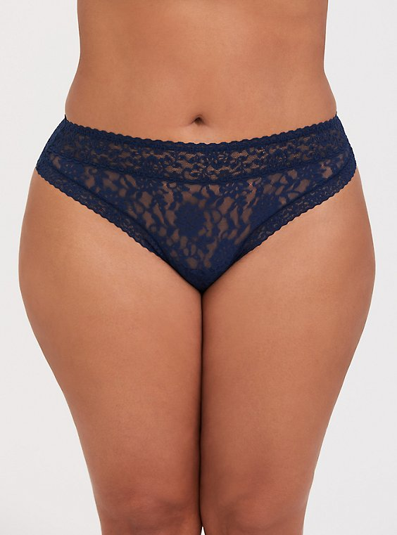 Plus Size Navy Lacey Thong Panty, , hi-res