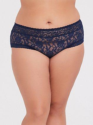 Plus Size Navy Lace Cheeky Panty, INDIGO GARDEN, hi-res