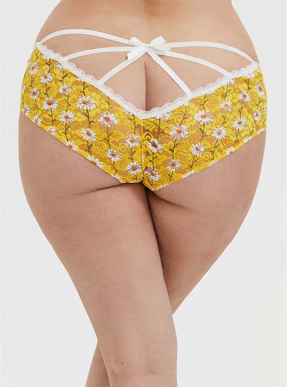 Yellow Daisy Lace Caged Hipster Panty, , hi-res