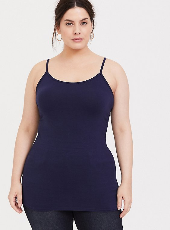 Plus Size Navy Scoop Neck Tunic Foxy Cami, , hi-res