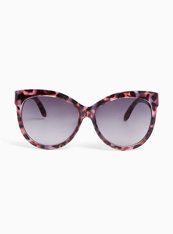 Purple Tortoiseshell Classic Cat Eye Sunglasses, , hi-res