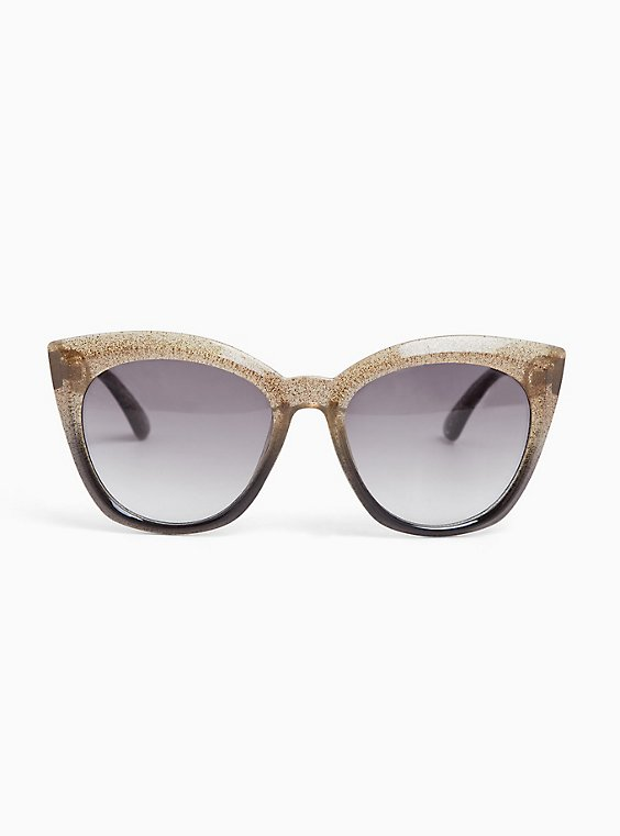 Grey & Gold Glitter Cat Eye Sunglasses, , hi-res
