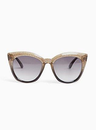 Grey & Gold Glitter Cat Eye Sunglasses, , hi-res