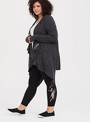Her Universe Disney Maleficent 2 Metallic Feather Black Crop Legging, DEEP BLACK, hi-res