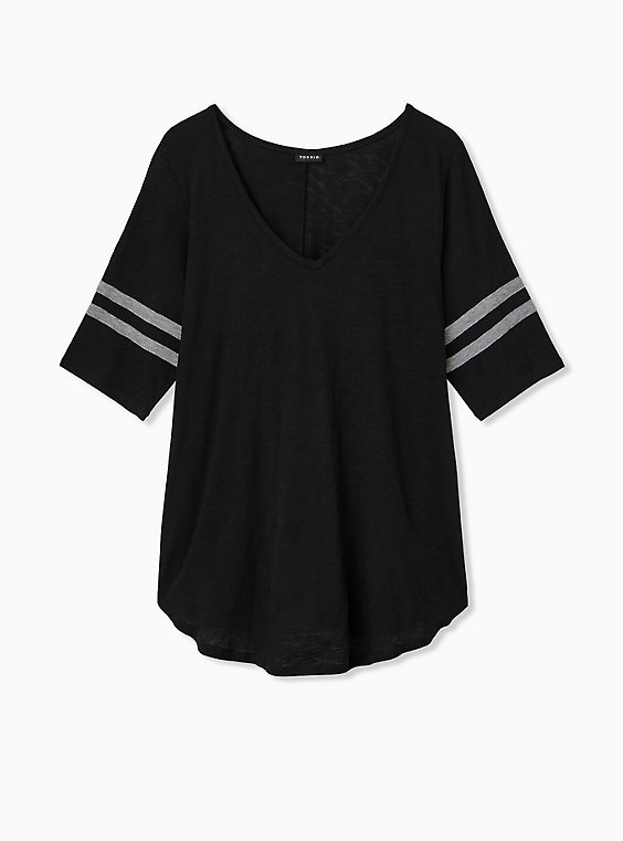 Plus Size Slim Fit V-Neck Tunic Tee - Heritage Slub Varsity Stripes Black, , hi-res