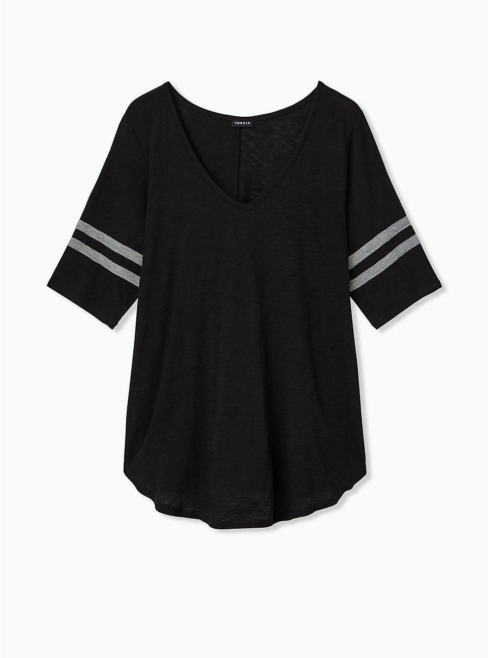 Plus Size Slim Fit V-Neck Tunic Tee - Heritage Slub Varsity Stripes Black, DEEP BLACK, hi-res