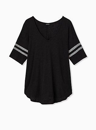 Slim Fit V-Neck Tunic Tee - Heritage Slub Varsity Stripes Black, DEEP BLACK, hi-res