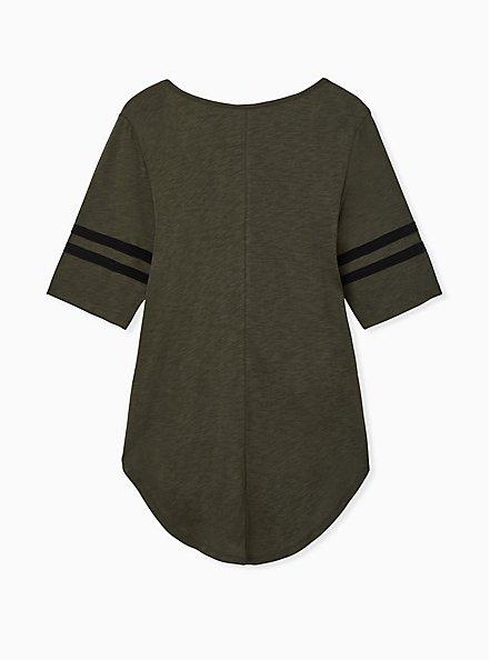 Olive Green V-Neck Football Tunic Tee, DEEP DEPTHS, alternate