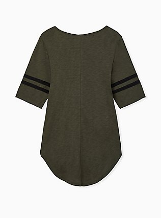 Plus Size Olive Green V-Neck Football Tunic Tee, DEEP DEPTHS, alternate